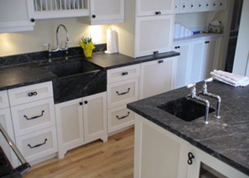 Soapstone kitchen countertops and sink